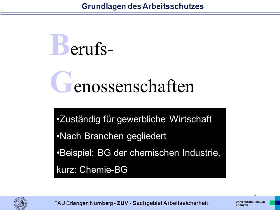 Grundlagen des Arbeitsschutzes 4 FAU Erlangen Nürnberg - ZUV - Sachgebiet Arbeitssicherheit B erufs- G enossenschaften Zuständig für gewerbliche Wirtschaft Nach Branchen gegliedert Beispiel: BG der chemischen Industrie, kurz: Chemie-BG