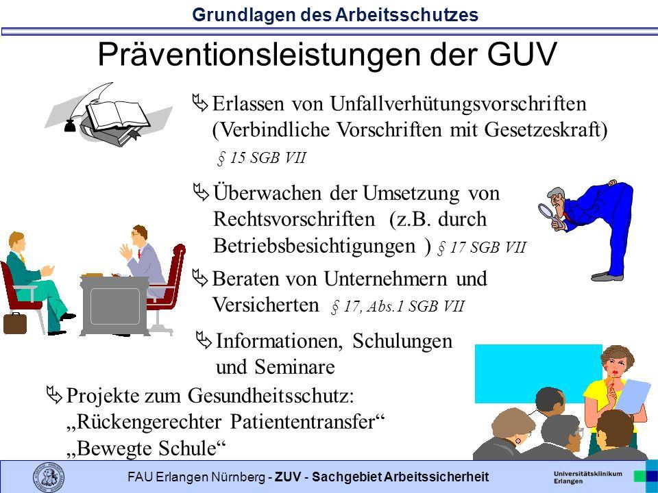 Grundlagen des Arbeitsschutzes 9 FAU Erlangen Nürnberg - ZUV - Sachgebiet Arbeitssicherheit Präventionsleistungen der GUV Erlassen von Unfallverhütungsvorschriften (Verbindliche Vorschriften mit Gesetzeskraft) § 15 SGB VII Überwachen der Umsetzung von Rechtsvorschriften (z.B.