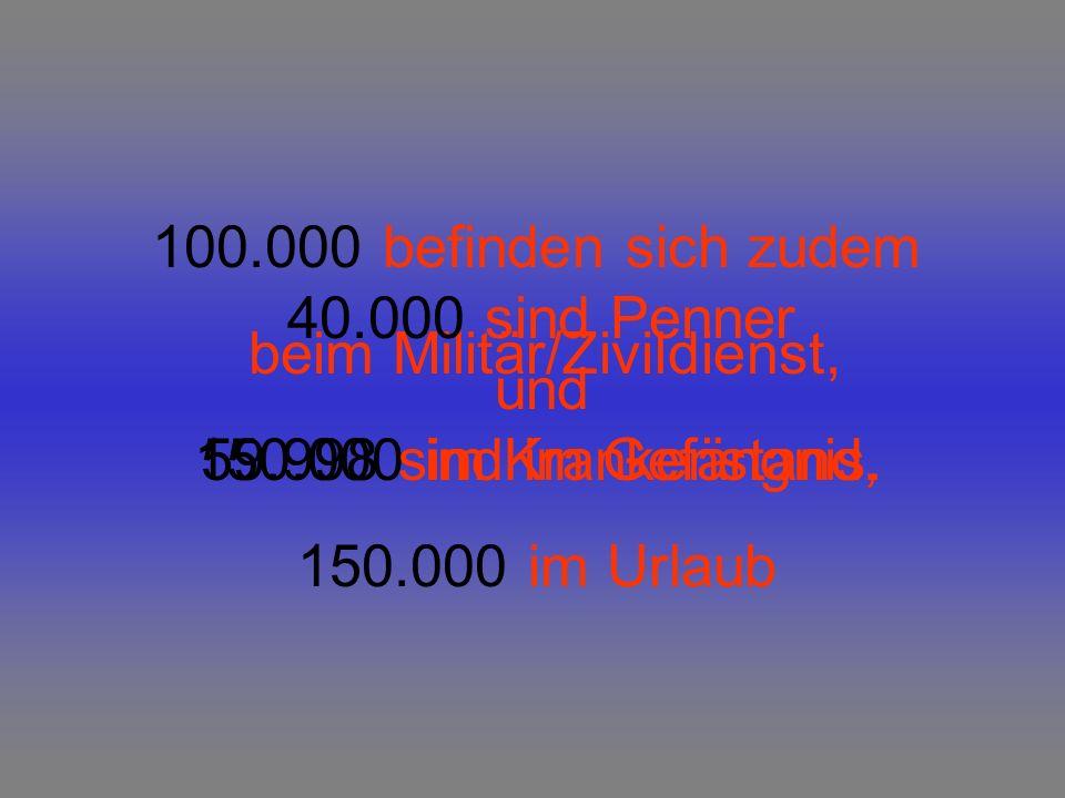 Dann sind da aber noch 0.5 Millionen Arbeitslose, 0.5 Millionen Beamte, (die auch kaum etwas tun) sowie 1.5Millionen Hausfrauen bzw.