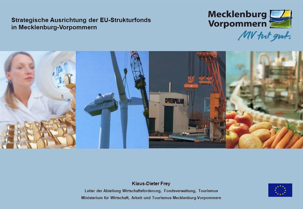 Klaus-Dieter Frey Leiter der Abteilung Wirtschaftsförderung, Fondsverwaltung, Tourismus Ministerium für Wirtschaft, Arbeit und Tourismus Mecklenburg-V