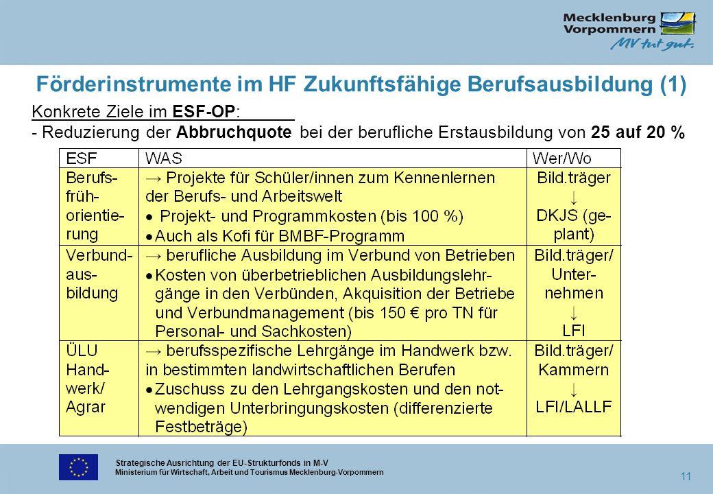 Strategische Ausrichtung der EU-Strukturfonds in M-V Ministerium für Wirtschaft, Arbeit und Tourismus Mecklenburg-Vorpommern 11 Förderinstrumente im H