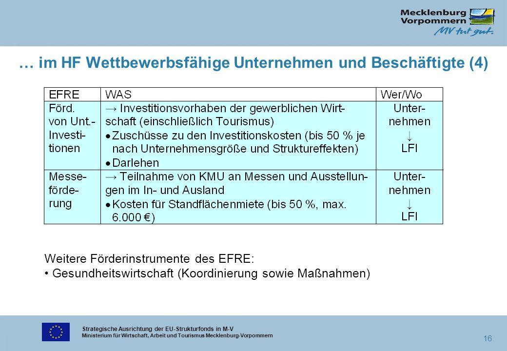 Strategische Ausrichtung der EU-Strukturfonds in M-V Ministerium für Wirtschaft, Arbeit und Tourismus Mecklenburg-Vorpommern 16 … im HF Wettbewerbsfäh
