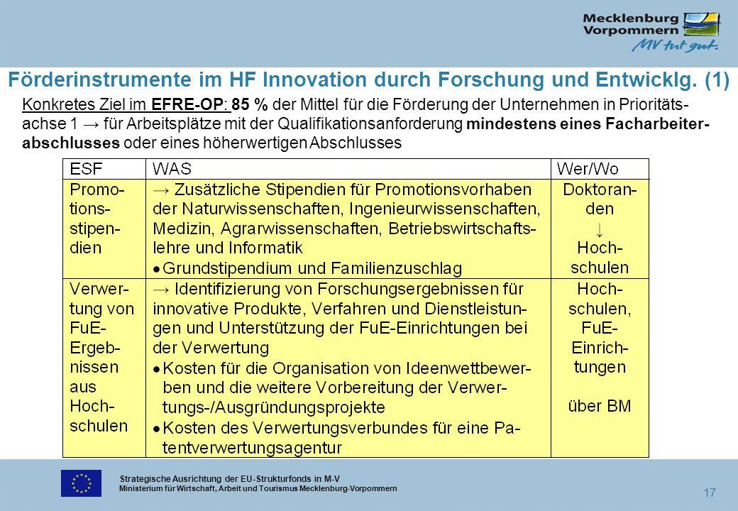 Strategische Ausrichtung der EU-Strukturfonds in M-V Ministerium für Wirtschaft, Arbeit und Tourismus Mecklenburg-Vorpommern 17 Förderinstrumente im H