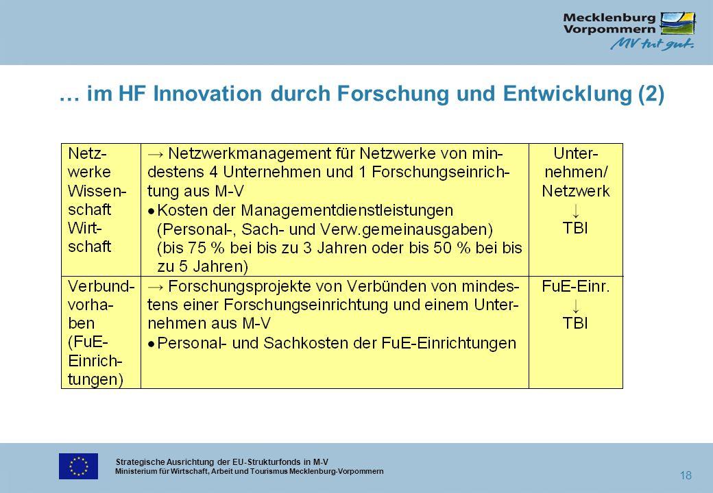 Strategische Ausrichtung der EU-Strukturfonds in M-V Ministerium für Wirtschaft, Arbeit und Tourismus Mecklenburg-Vorpommern 18 … im HF Innovation dur