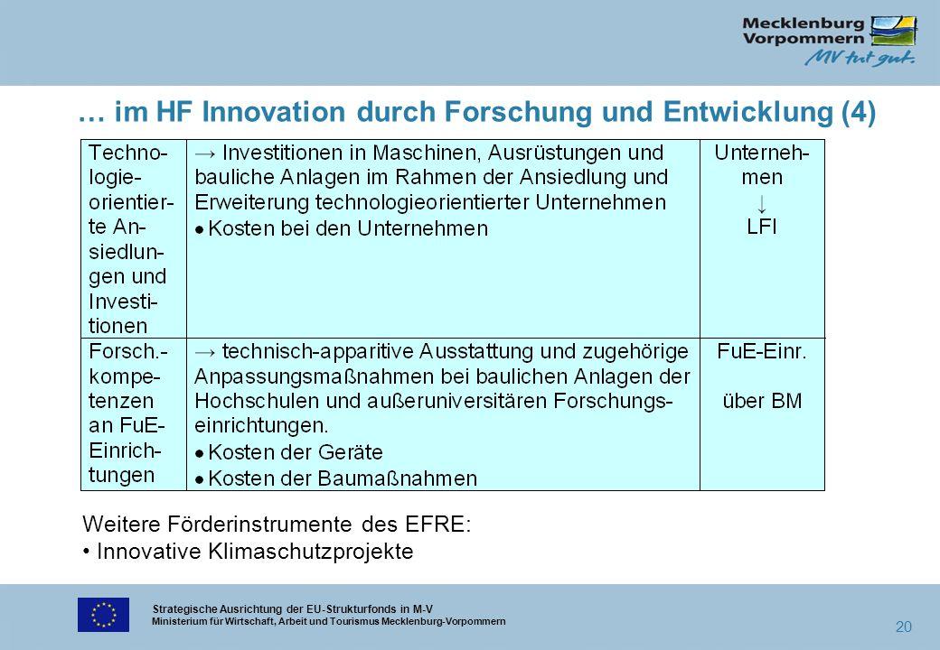 Strategische Ausrichtung der EU-Strukturfonds in M-V Ministerium für Wirtschaft, Arbeit und Tourismus Mecklenburg-Vorpommern 20 … im HF Innovation dur