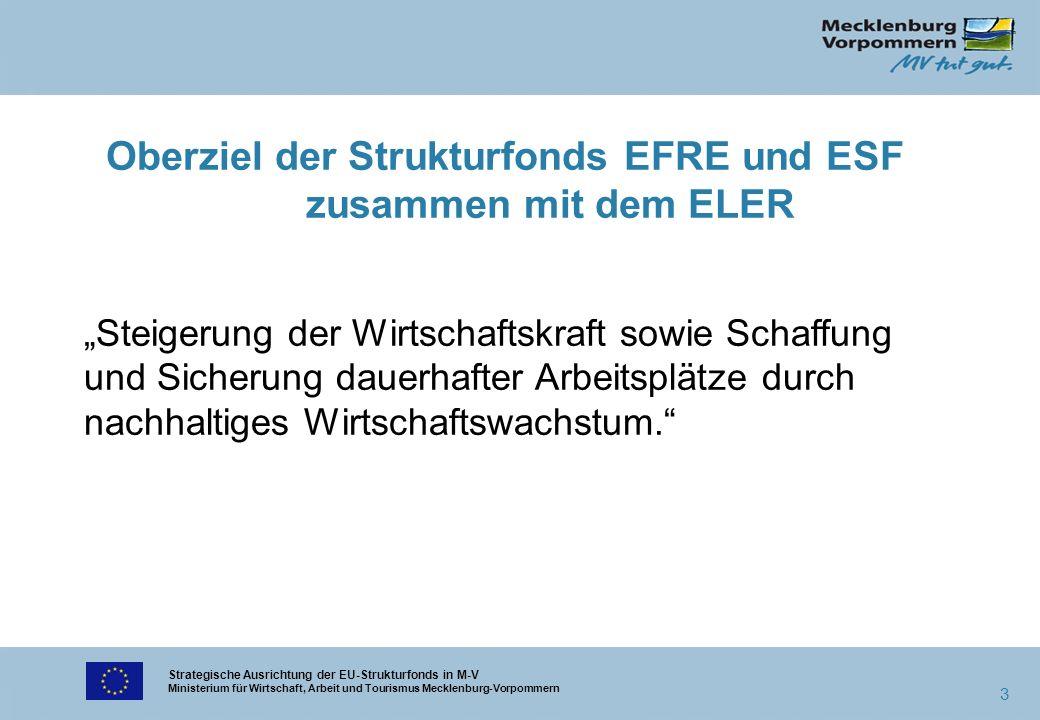 Strategische Ausrichtung der EU-Strukturfonds in M-V Ministerium für Wirtschaft, Arbeit und Tourismus Mecklenburg-Vorpommern 3 Oberziel der Strukturfo
