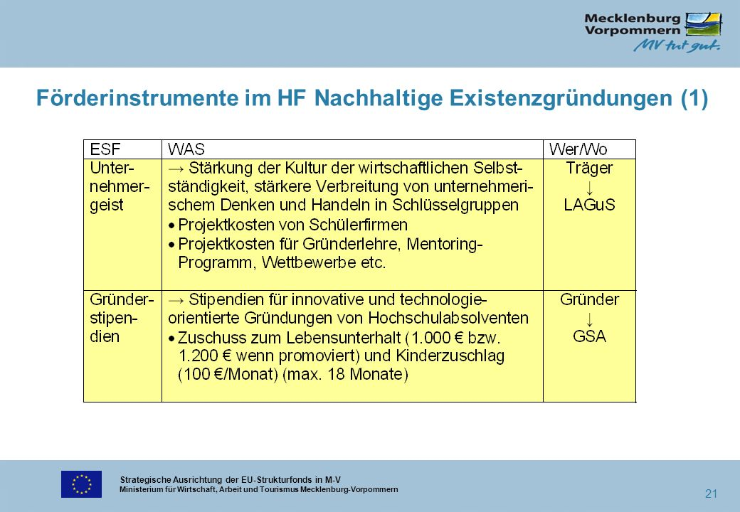 Strategische Ausrichtung der EU-Strukturfonds in M-V Ministerium für Wirtschaft, Arbeit und Tourismus Mecklenburg-Vorpommern 21 Förderinstrumente im H