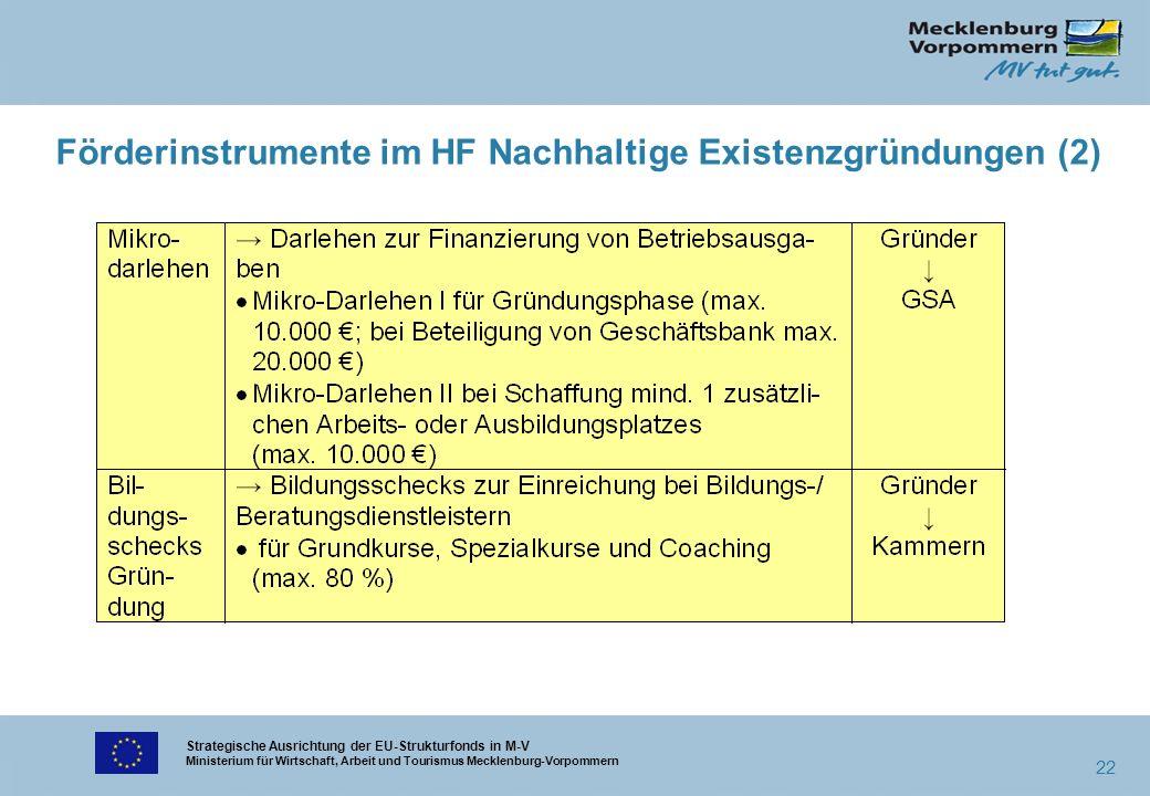 Strategische Ausrichtung der EU-Strukturfonds in M-V Ministerium für Wirtschaft, Arbeit und Tourismus Mecklenburg-Vorpommern 22 Förderinstrumente im H