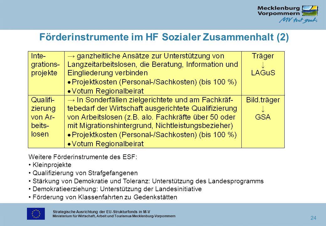 Strategische Ausrichtung der EU-Strukturfonds in M-V Ministerium für Wirtschaft, Arbeit und Tourismus Mecklenburg-Vorpommern 24 Förderinstrumente im H