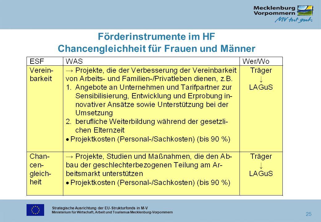 Strategische Ausrichtung der EU-Strukturfonds in M-V Ministerium für Wirtschaft, Arbeit und Tourismus Mecklenburg-Vorpommern 25 Förderinstrumente im H