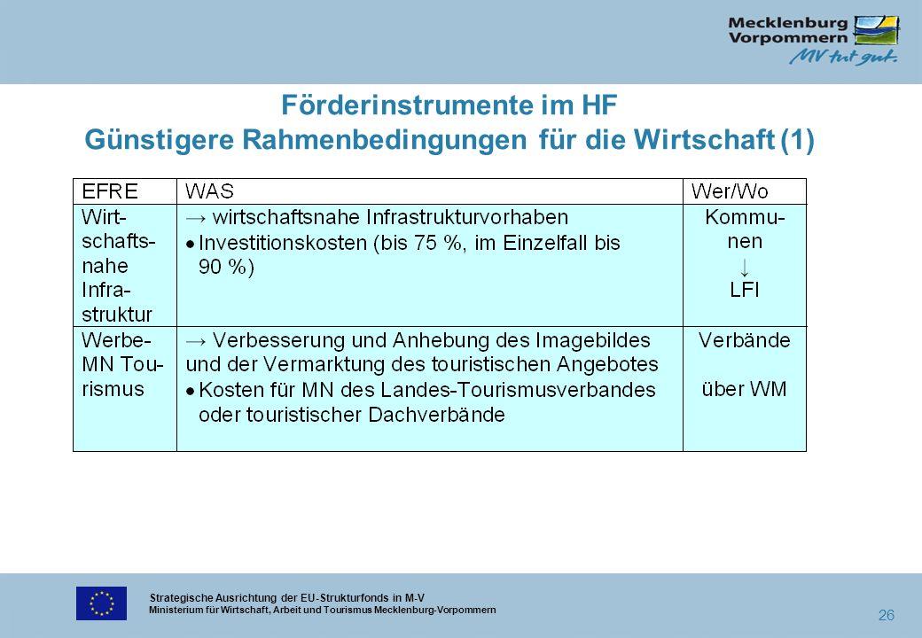 Strategische Ausrichtung der EU-Strukturfonds in M-V Ministerium für Wirtschaft, Arbeit und Tourismus Mecklenburg-Vorpommern 26 Förderinstrumente im H