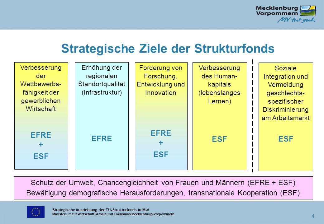 Strategische Ausrichtung der EU-Strukturfonds in M-V Ministerium für Wirtschaft, Arbeit und Tourismus Mecklenburg-Vorpommern 4 Strategische Ziele der