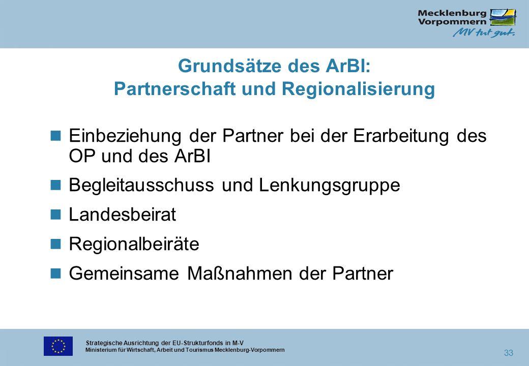 Strategische Ausrichtung der EU-Strukturfonds in M-V Ministerium für Wirtschaft, Arbeit und Tourismus Mecklenburg-Vorpommern 33 n Einbeziehung der Par