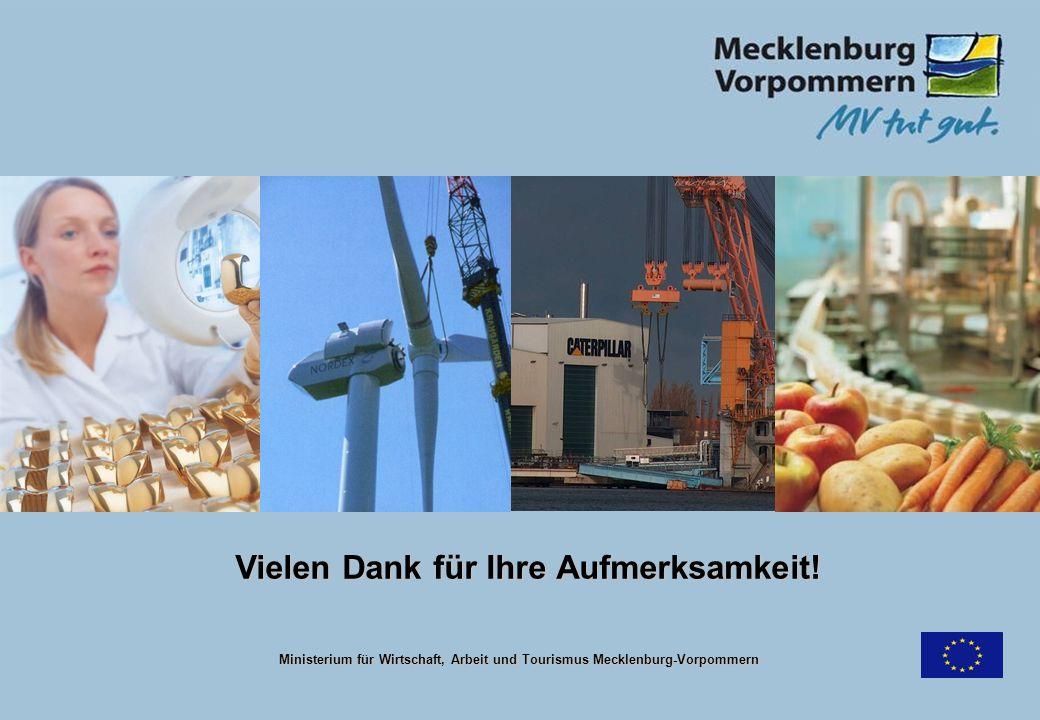 Vielen Dank für Ihre Aufmerksamkeit! Ministerium für Wirtschaft, Arbeit und Tourismus Mecklenburg-Vorpommern