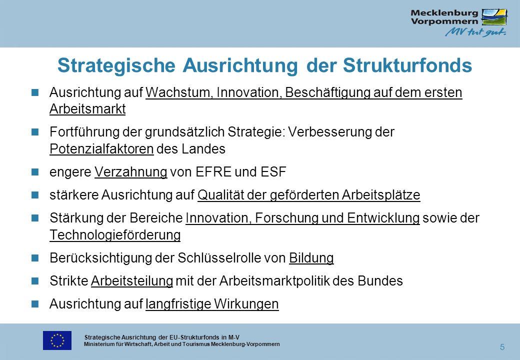 Strategische Ausrichtung der EU-Strukturfonds in M-V Ministerium für Wirtschaft, Arbeit und Tourismus Mecklenburg-Vorpommern 5 Strategische Ausrichtun