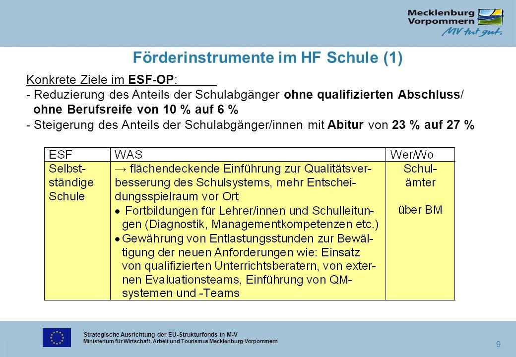 Strategische Ausrichtung der EU-Strukturfonds in M-V Ministerium für Wirtschaft, Arbeit und Tourismus Mecklenburg-Vorpommern 9 Förderinstrumente im HF