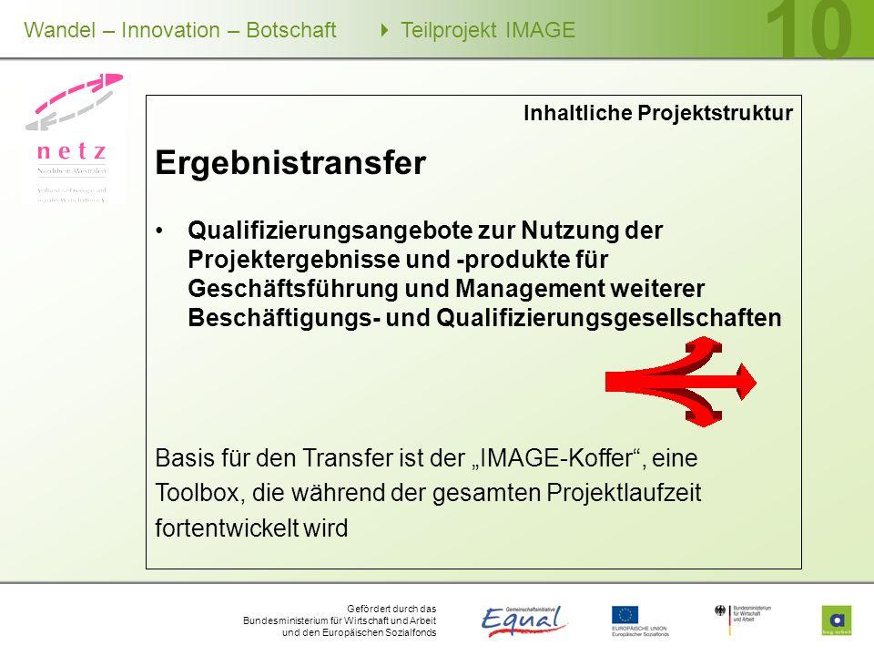 Gefördert durch das Bundesministerium für Wirtschaft und Arbeit und den Europäischen Sozialfonds Wandel – Innovation – Botschaft Teilprojekt IMAGE 10