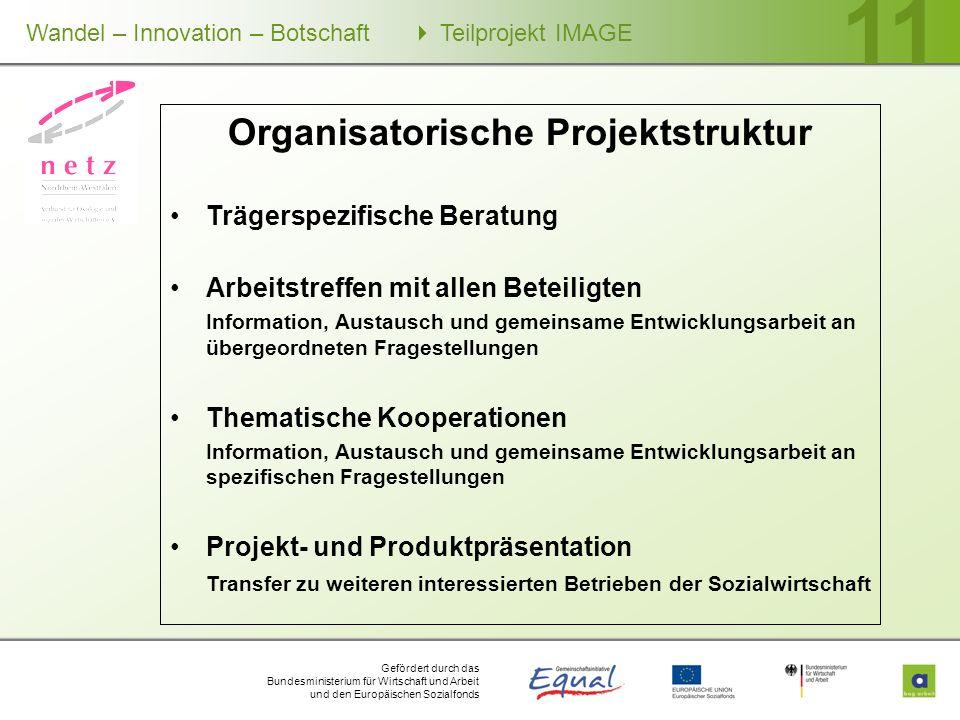 Gefördert durch das Bundesministerium für Wirtschaft und Arbeit und den Europäischen Sozialfonds Wandel – Innovation – Botschaft Teilprojekt IMAGE 11