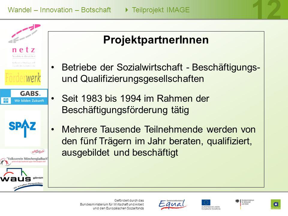 Gefördert durch das Bundesministerium für Wirtschaft und Arbeit und den Europäischen Sozialfonds Wandel – Innovation – Botschaft Teilprojekt IMAGE 12