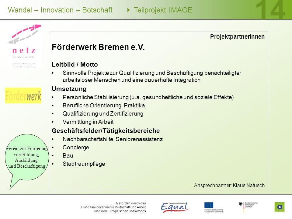 Gefördert durch das Bundesministerium für Wirtschaft und Arbeit und den Europäischen Sozialfonds Wandel – Innovation – Botschaft Teilprojekt IMAGE 14