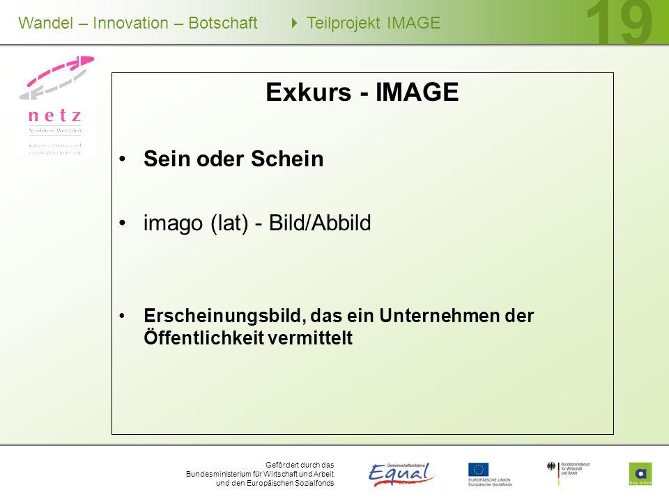Gefördert durch das Bundesministerium für Wirtschaft und Arbeit und den Europäischen Sozialfonds Wandel – Innovation – Botschaft Teilprojekt IMAGE 19