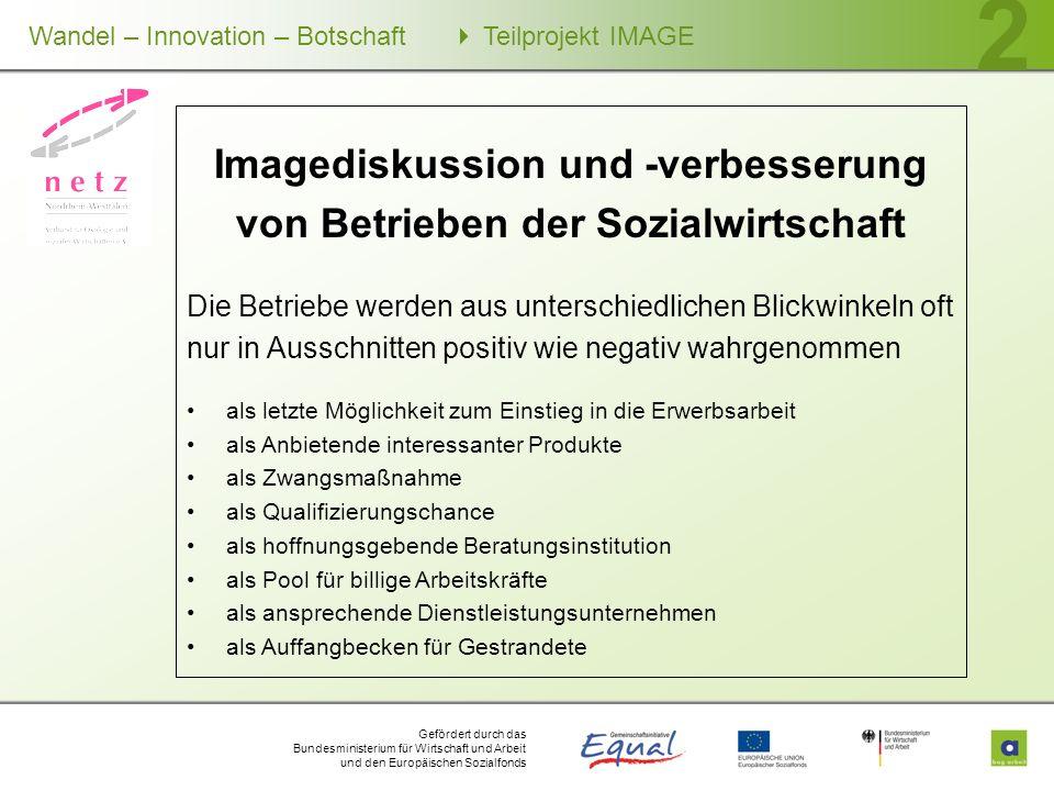 Gefördert durch das Bundesministerium für Wirtschaft und Arbeit und den Europäischen Sozialfonds Wandel – Innovation – Botschaft Teilprojekt IMAGE 2 I