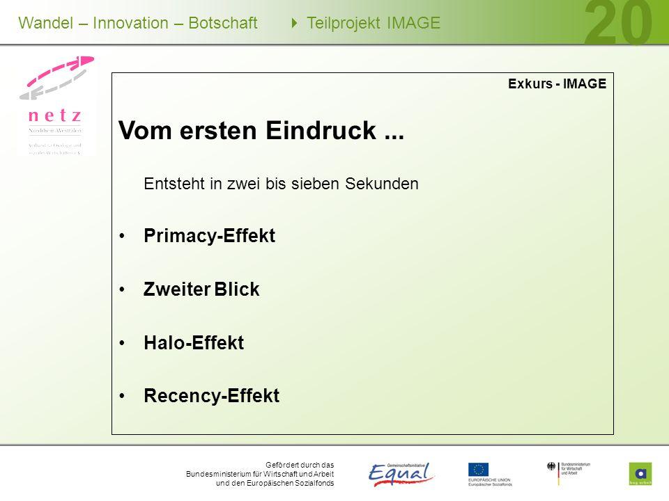 Gefördert durch das Bundesministerium für Wirtschaft und Arbeit und den Europäischen Sozialfonds Wandel – Innovation – Botschaft Teilprojekt IMAGE 20