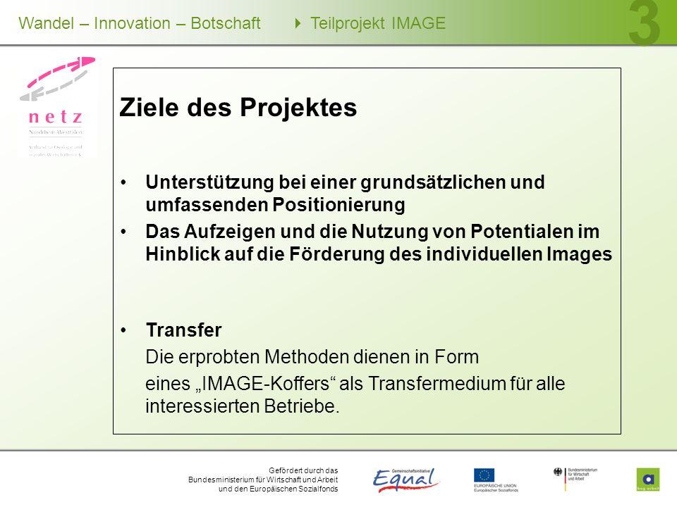 Gefördert durch das Bundesministerium für Wirtschaft und Arbeit und den Europäischen Sozialfonds Wandel – Innovation – Botschaft Teilprojekt IMAGE 3 Z