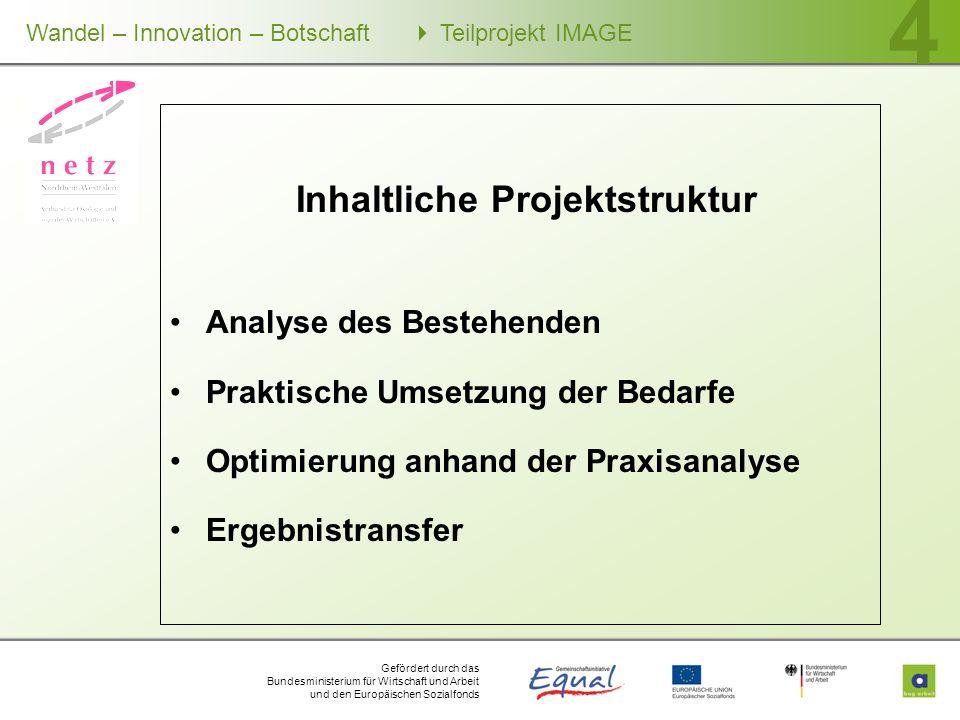 Gefördert durch das Bundesministerium für Wirtschaft und Arbeit und den Europäischen Sozialfonds Wandel – Innovation – Botschaft Teilprojekt IMAGE 4 I