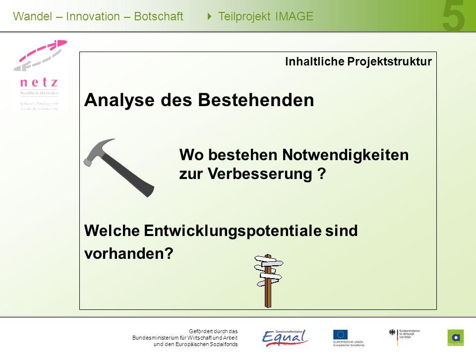 Gefördert durch das Bundesministerium für Wirtschaft und Arbeit und den Europäischen Sozialfonds Wandel – Innovation – Botschaft Teilprojekt IMAGE 5 I
