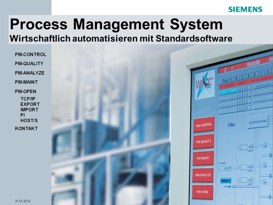 © Siemens AG 2012 - Änderungen vorbehalten WinCC Competence Center Mannheim 31.01.2012Seite 1 PM-OPEN PM-MAINT PM-ANALYZE PM-QUALITY PM-CONTROL TCP/IP EXPORT IMPORT PI HOST/S KONTAKT Process Management System Wirtschaftlich automatisieren mit Standardsoftware