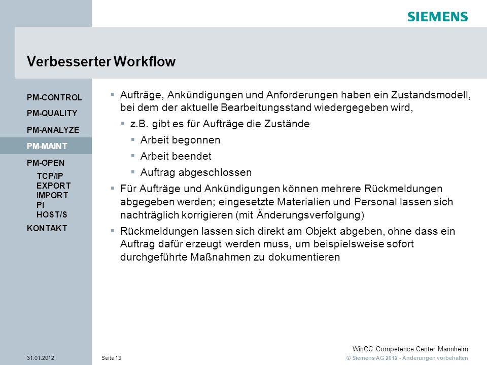 © Siemens AG 2012 - Änderungen vorbehalten WinCC Competence Center Mannheim 31.01.2012Seite 13 KONTAKT PM-OPEN TCP/IP EXPORT IMPORT PI HOST/S PM-QUALITY PM-MAINT PM-CONTROL PM-ANALYZE Verbesserter Workflow Aufträge, Ankündigungen und Anforderungen haben ein Zustandsmodell, bei dem der aktuelle Bearbeitungsstand wiedergegeben wird, z.B.