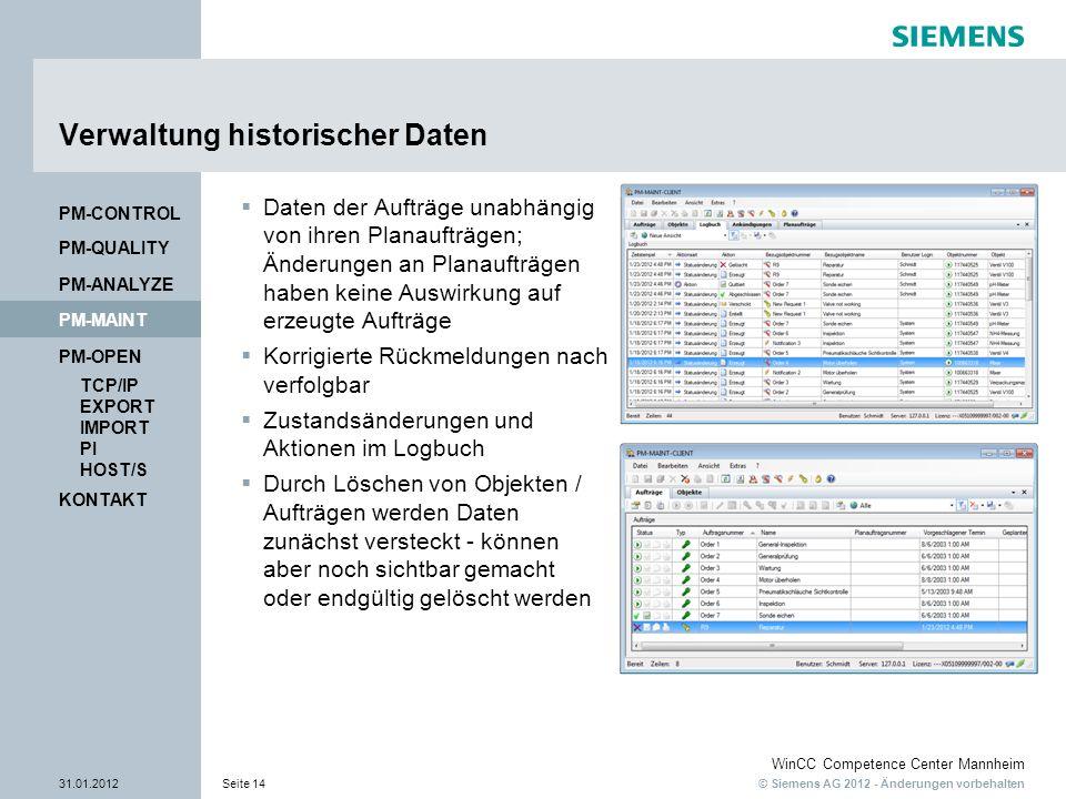 © Siemens AG 2012 - Änderungen vorbehalten WinCC Competence Center Mannheim 31.01.2012Seite 14 KONTAKT PM-OPEN TCP/IP EXPORT IMPORT PI HOST/S PM-QUALITY PM-MAINT PM-CONTROL PM-ANALYZE Verwaltung historischer Daten Daten der Aufträge unabhängig von ihren Planaufträgen; Änderungen an Planaufträgen haben keine Auswirkung auf erzeugte Aufträge Korrigierte Rückmeldungen nach verfolgbar Zustandsänderungen und Aktionen im Logbuch Durch Löschen von Objekten / Aufträgen werden Daten zunächst versteckt - können aber noch sichtbar gemacht oder endgültig gelöscht werden