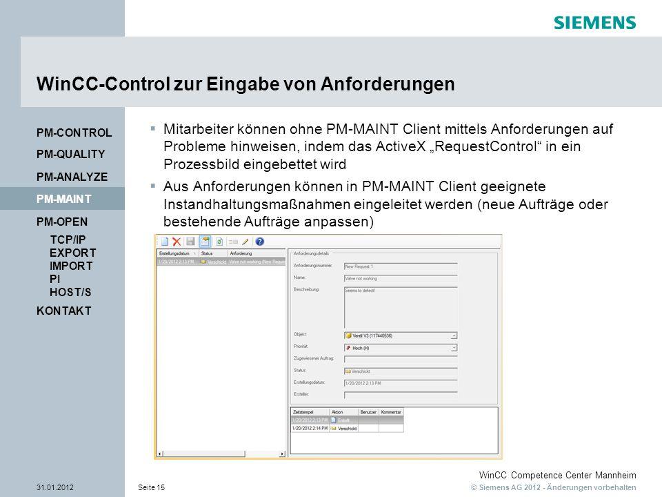 © Siemens AG 2012 - Änderungen vorbehalten WinCC Competence Center Mannheim 31.01.2012Seite 15 KONTAKT PM-OPEN TCP/IP EXPORT IMPORT PI HOST/S PM-QUALI