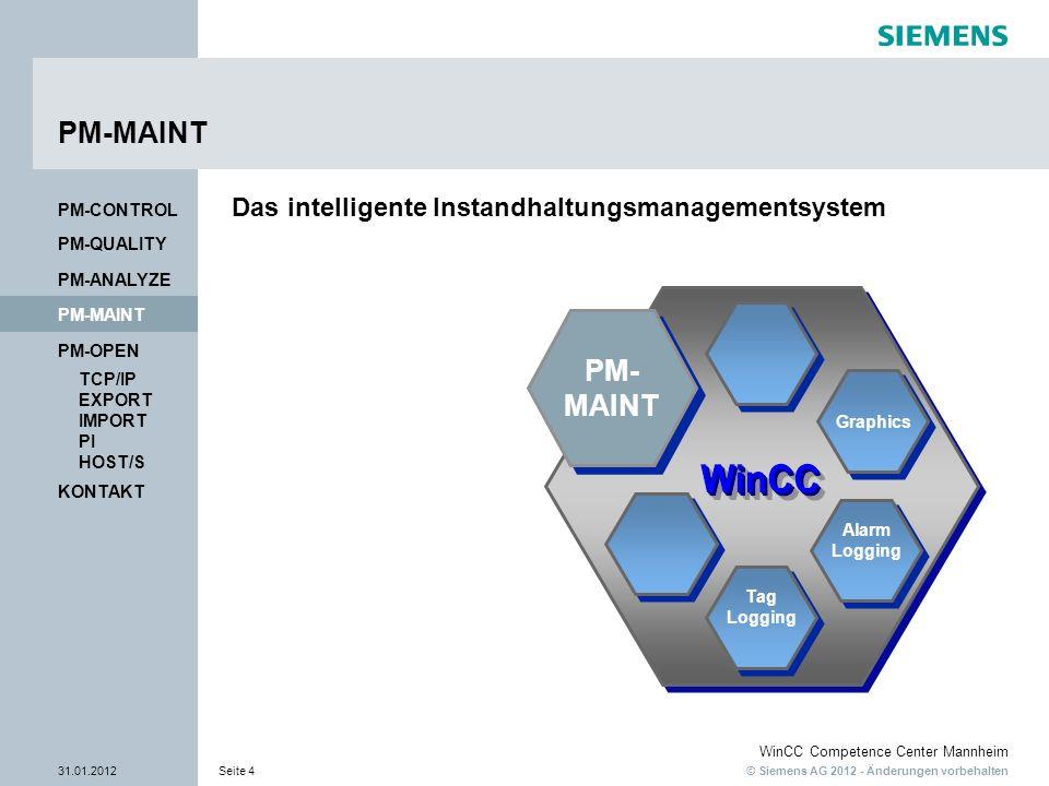 © Siemens AG 2012 - Änderungen vorbehalten WinCC Competence Center Mannheim 31.01.2012Seite 4 KONTAKT PM-OPEN TCP/IP EXPORT IMPORT PI HOST/S PM-QUALITY PM-MAINT PM-CONTROL PM-ANALYZE PM-MAINT Tag Logging Tag Logging Alarm Logging Alarm Logging Graphics Das intelligente Instandhaltungsmanagementsystem PM- MAINT PM- MAINT