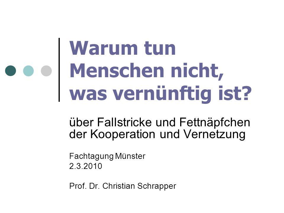Warum tun Menschen nicht, was vernünftig ist? über Fallstricke und Fettnäpfchen der Kooperation und Vernetzung Fachtagung Münster 2.3.2010 Prof. Dr. C