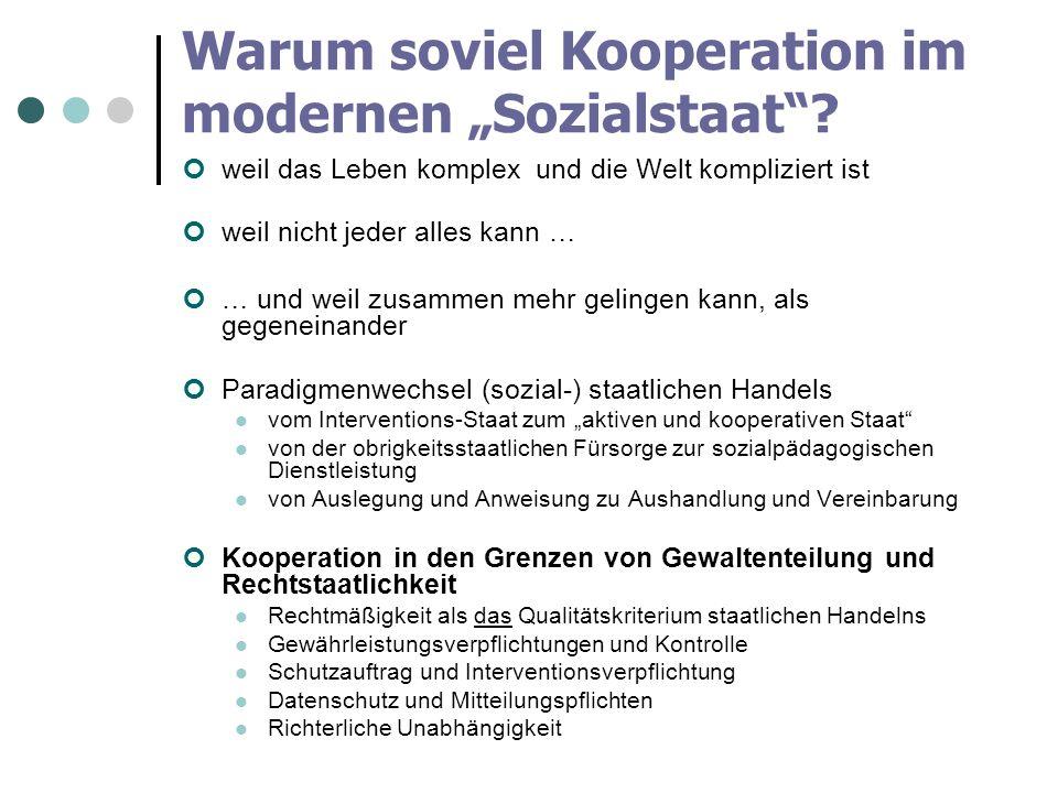 Warum soviel Kooperation im modernen Sozialstaat? weil das Leben komplex und die Welt kompliziert ist weil nicht jeder alles kann … … und weil zusamme