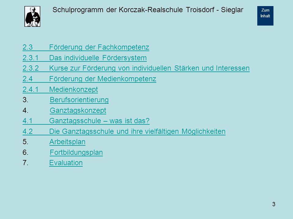 Schulprogramm der Korczak-Realschule Troisdorf - Sieglar Zum Inhalt 14 2.2.4 Patenprojekt Schüler und Schülerinnen ab der Klasse 9 übernehmen Verantwortung für die neuen Schüler / innen der Klassen 5, indem sie sich als Paten um sie kümmern.