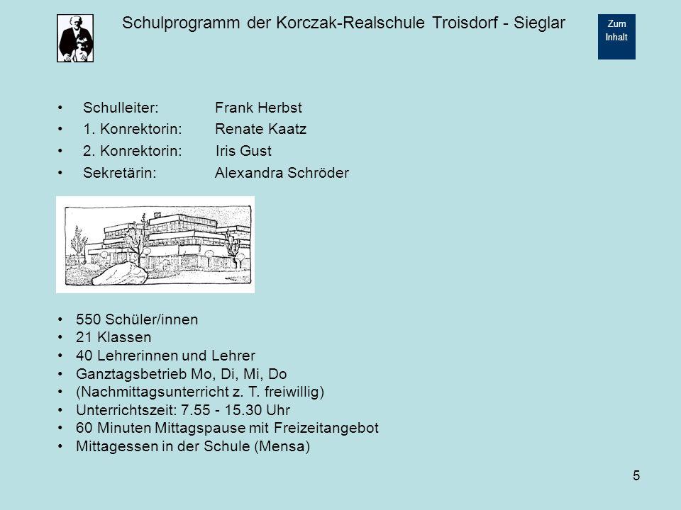 Schulprogramm der Korczak-Realschule Troisdorf - Sieglar Zum Inhalt 16 2.2.6 Streitschlichter Als Mediatoren ausgebildete Lehrerinnen und Lehrer haben an der Korczak-Realschule ein Projekt zur Streitschlichtung aufgebaut, indem speziell ausgebildete Schülerinnen und Schüler der Klassen 9 und 10 Streitschlichtung für jüngere Schüler / innen organisieren.