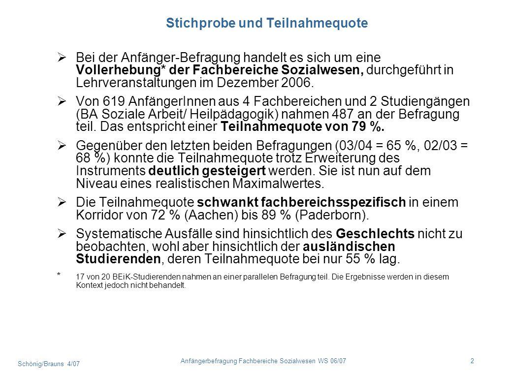 Schönig/Brauns 4/07 2Anfängerbefragung Fachbereiche Sozialwesen WS 06/07 Stichprobe und Teilnahmequote Bei der Anfänger-Befragung handelt es sich um e