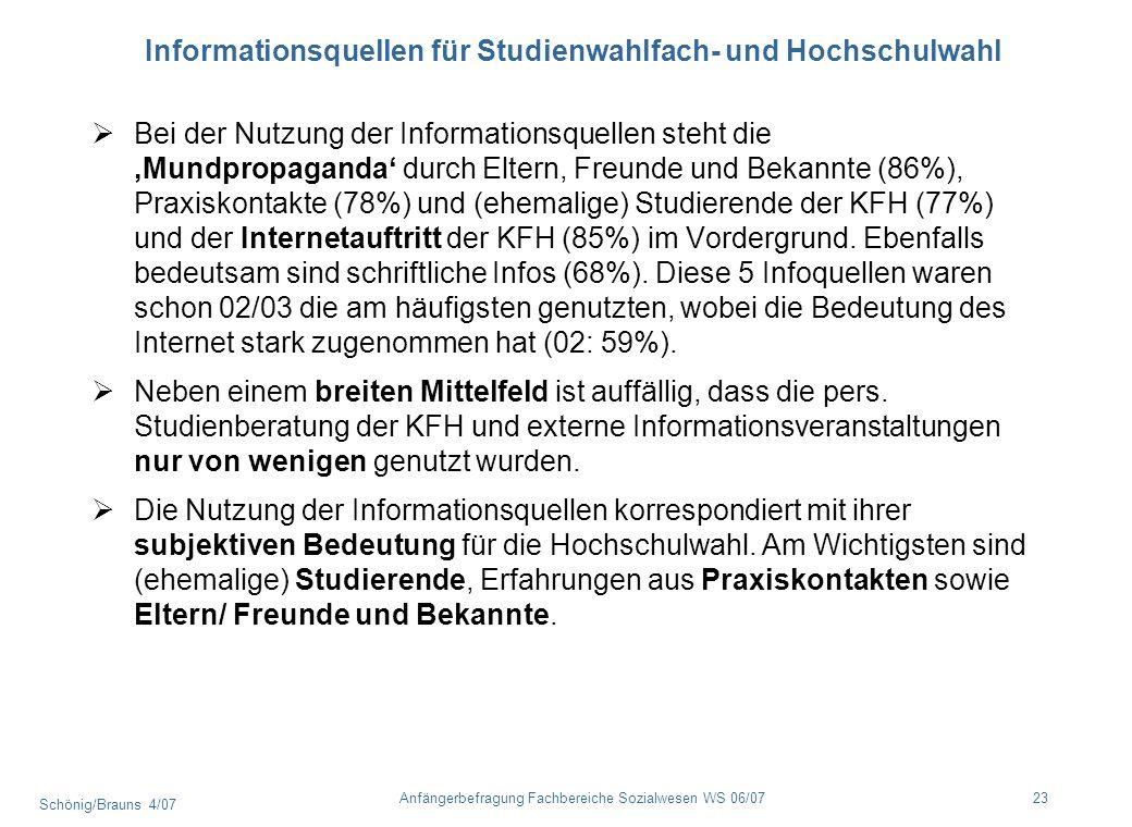 Schönig/Brauns 4/07 23Anfängerbefragung Fachbereiche Sozialwesen WS 06/07 Informationsquellen für Studienwahlfach- und Hochschulwahl Bei der Nutzung d