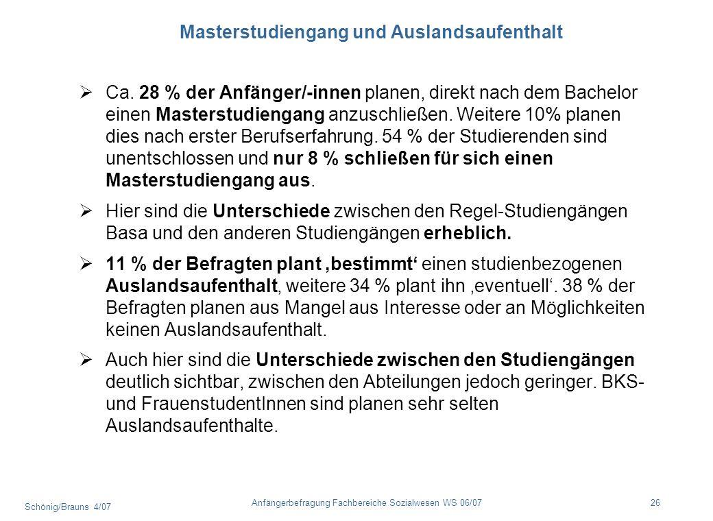Schönig/Brauns 4/07 26Anfängerbefragung Fachbereiche Sozialwesen WS 06/07 Masterstudiengang und Auslandsaufenthalt Ca. 28 % der Anfänger/-innen planen