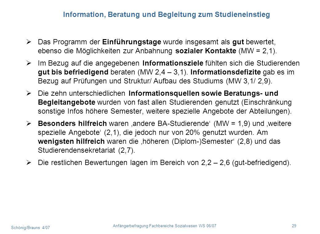 Schönig/Brauns 4/07 29Anfängerbefragung Fachbereiche Sozialwesen WS 06/07 Information, Beratung und Begleitung zum Studieneinstieg Das Programm der Ei
