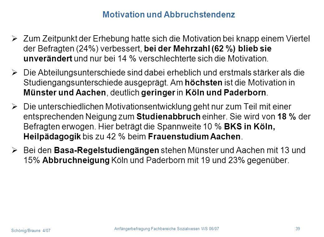 Schönig/Brauns 4/07 39Anfängerbefragung Fachbereiche Sozialwesen WS 06/07 Motivation und Abbruchstendenz Zum Zeitpunkt der Erhebung hatte sich die Mot