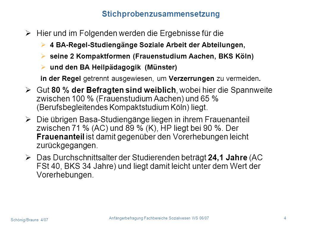 Schönig/Brauns 4/07 4Anfängerbefragung Fachbereiche Sozialwesen WS 06/07 Stichprobenzusammensetzung Hier und im Folgenden werden die Ergebnisse für di