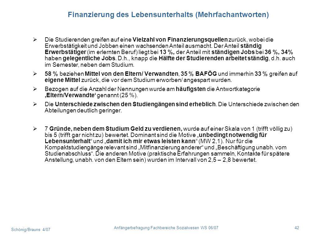 Schönig/Brauns 4/07 42Anfängerbefragung Fachbereiche Sozialwesen WS 06/07 Finanzierung des Lebensunterhalts (Mehrfachantworten) Die Studierenden greif