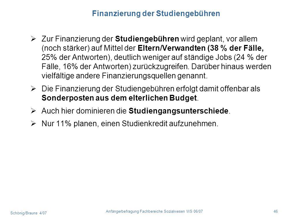 Schönig/Brauns 4/07 46Anfängerbefragung Fachbereiche Sozialwesen WS 06/07 Finanzierung der Studiengebühren Zur Finanzierung der Studiengebühren wird g