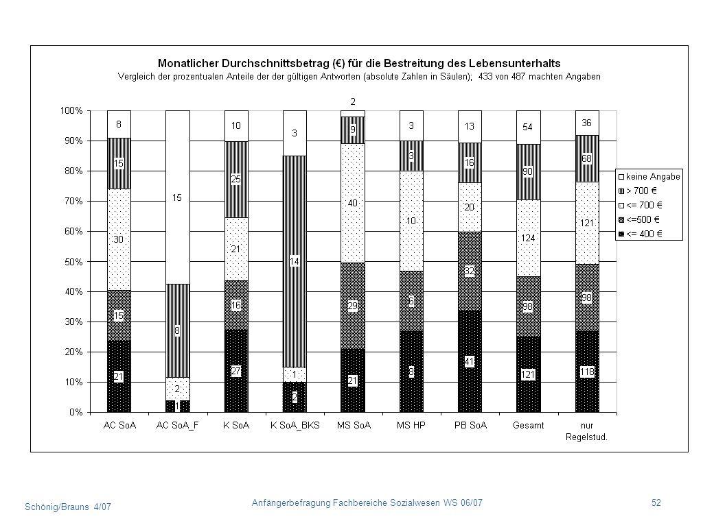 Schönig/Brauns 4/07 52Anfängerbefragung Fachbereiche Sozialwesen WS 06/07