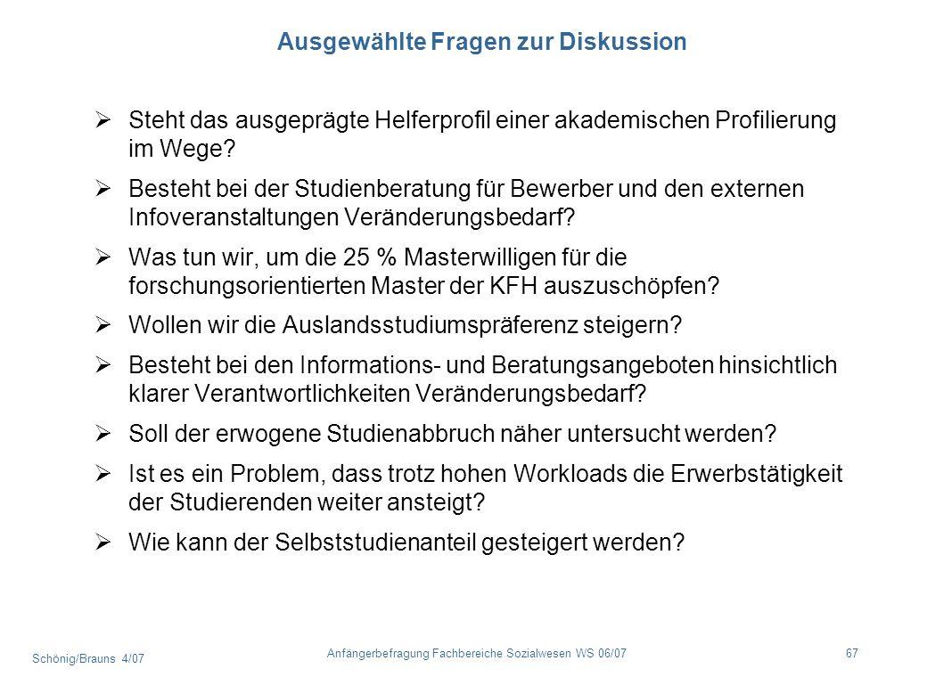 Schönig/Brauns 4/07 67Anfängerbefragung Fachbereiche Sozialwesen WS 06/07 Ausgewählte Fragen zur Diskussion Steht das ausgeprägte Helferprofil einer a
