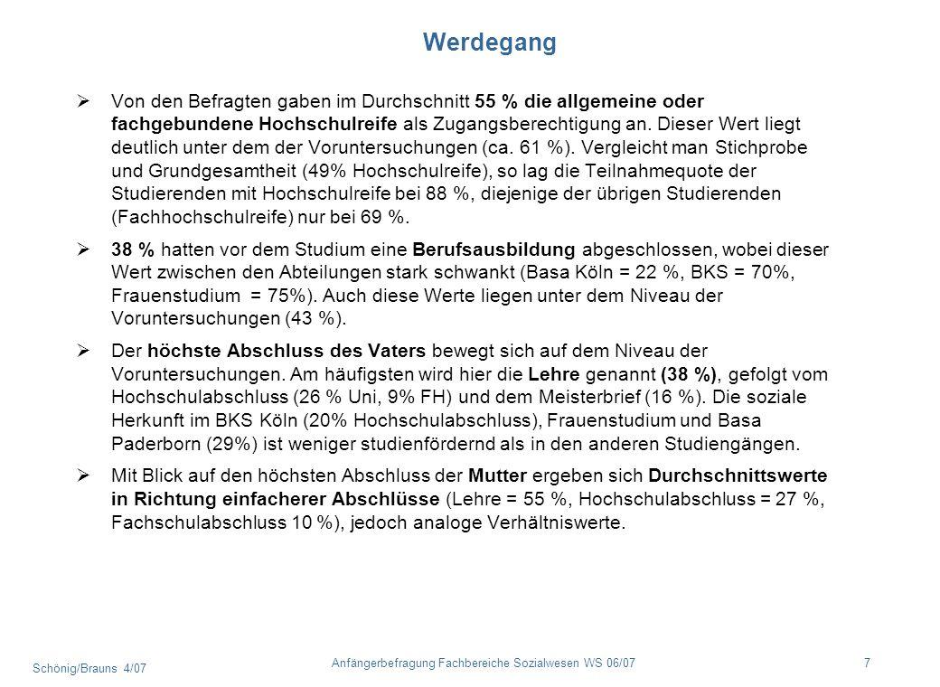 Schönig/Brauns 4/07 7Anfängerbefragung Fachbereiche Sozialwesen WS 06/07 Werdegang Von den Befragten gaben im Durchschnitt 55 % die allgemeine oder fa